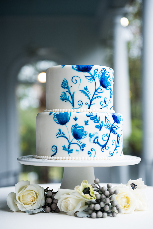 Delft Blue Watercolor cake at The Thomas Bennett House from Reese Moore Weddings