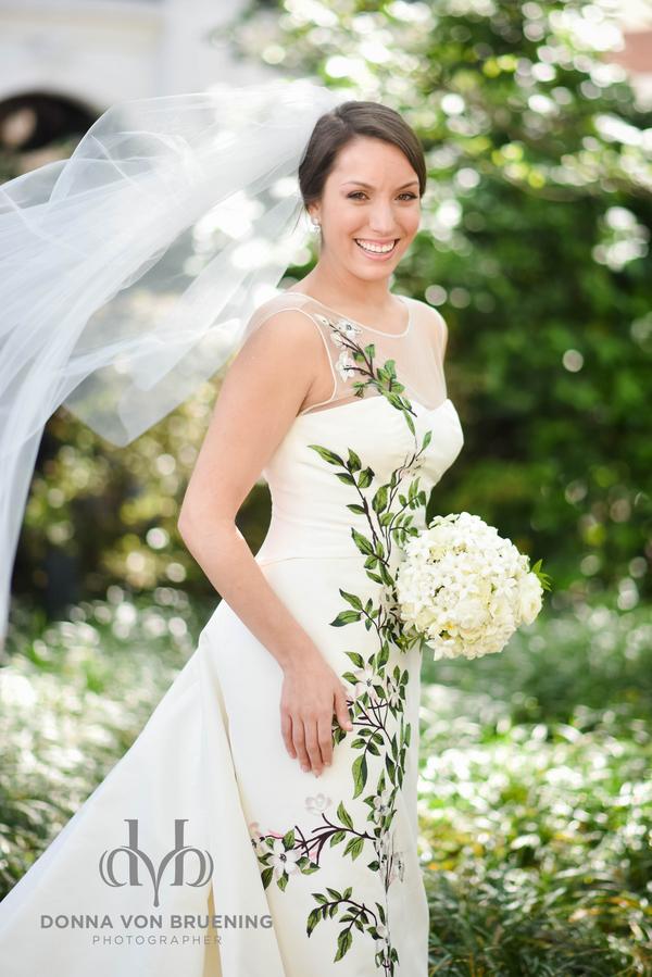 Carolina Herrara gown at Savannah wedding at Oglethorpe Club by Donna Von Bruening