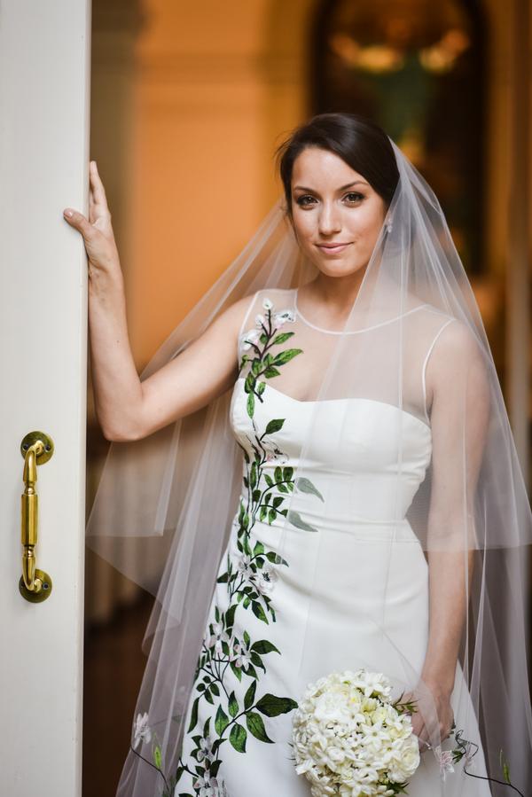 Carolina Herrera gown at Savannah wedding at the Oglethorpe Club