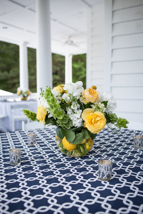 Yellow and White centerpieces from Charleston Flower Market at Nautical-inspired Old Wide Awake Plantation wedding by Carmen Ash Photogrpahy