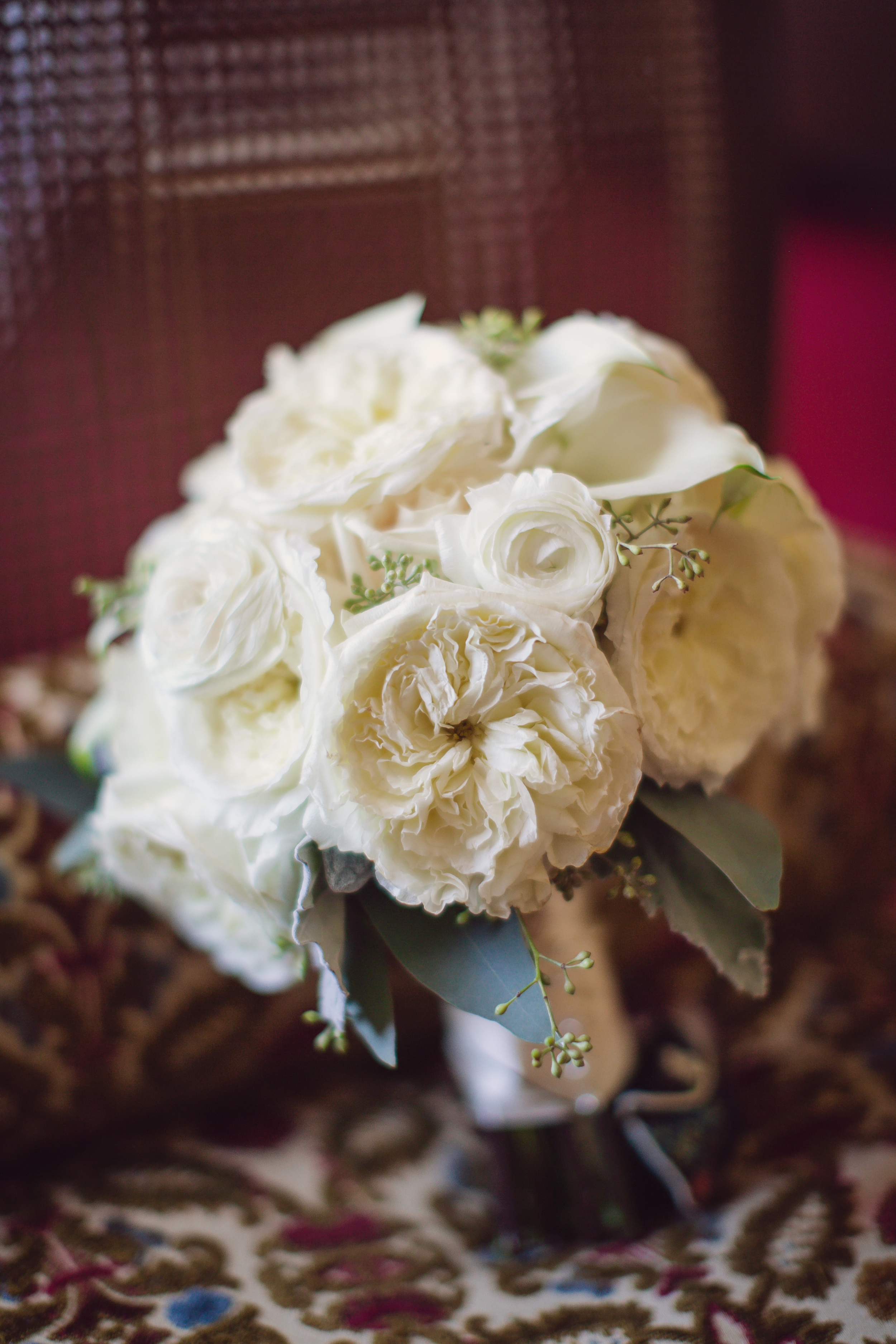 White garden rose bouquet designed by Charleston florist Engaging Events