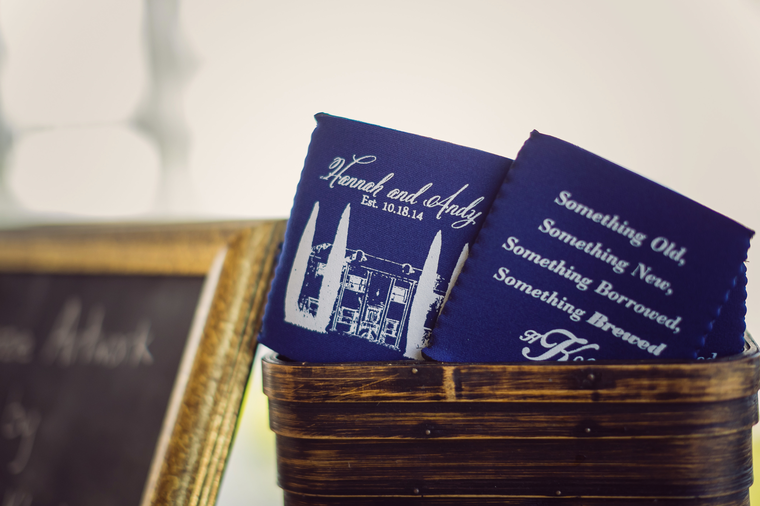Navy Charleston, South Carolina wedding koozies by Rebecca Keeling Photography