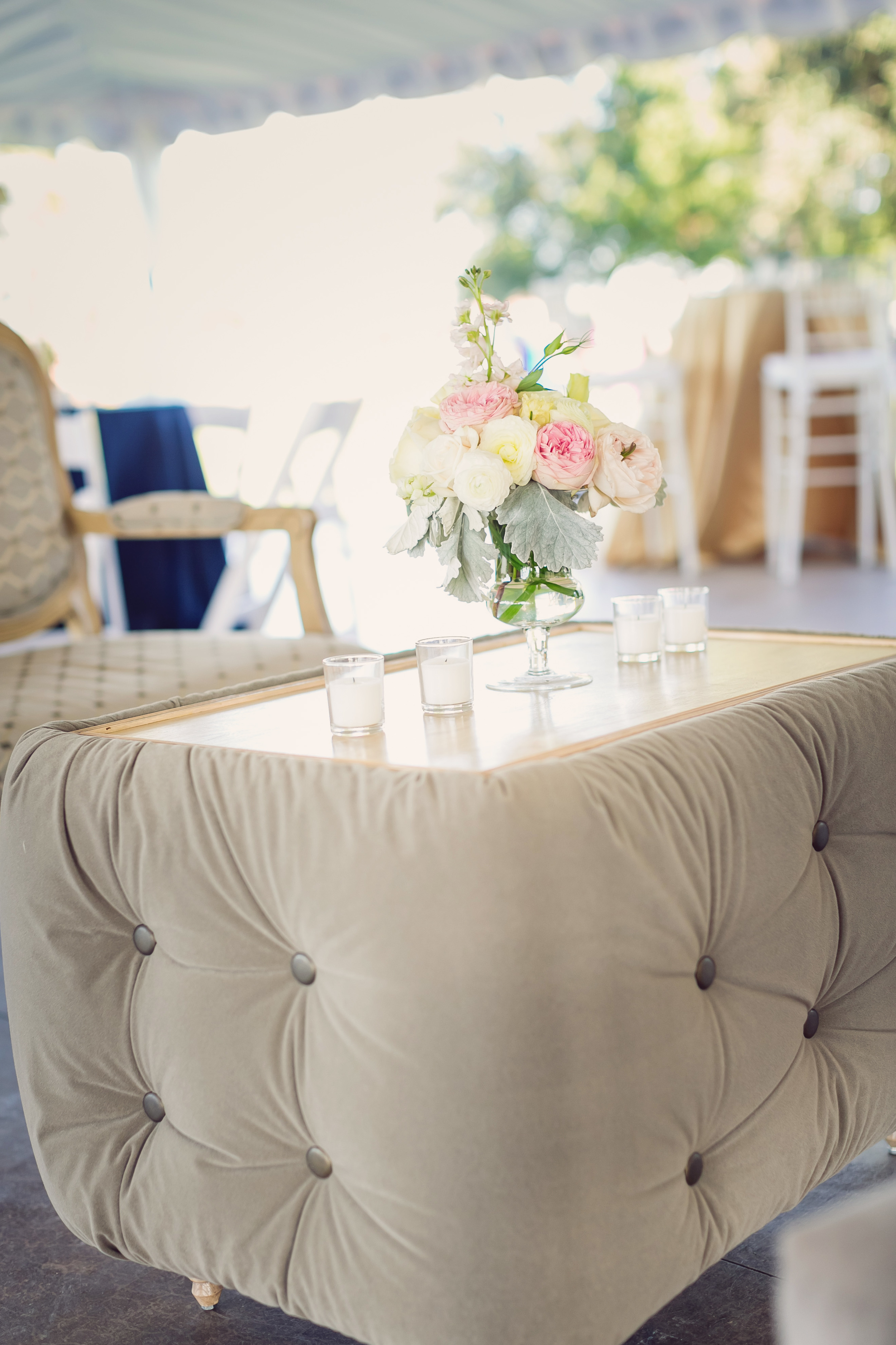Custom lounge furniture rentals from Eventworks at Island House wedding in Charleston, SC
