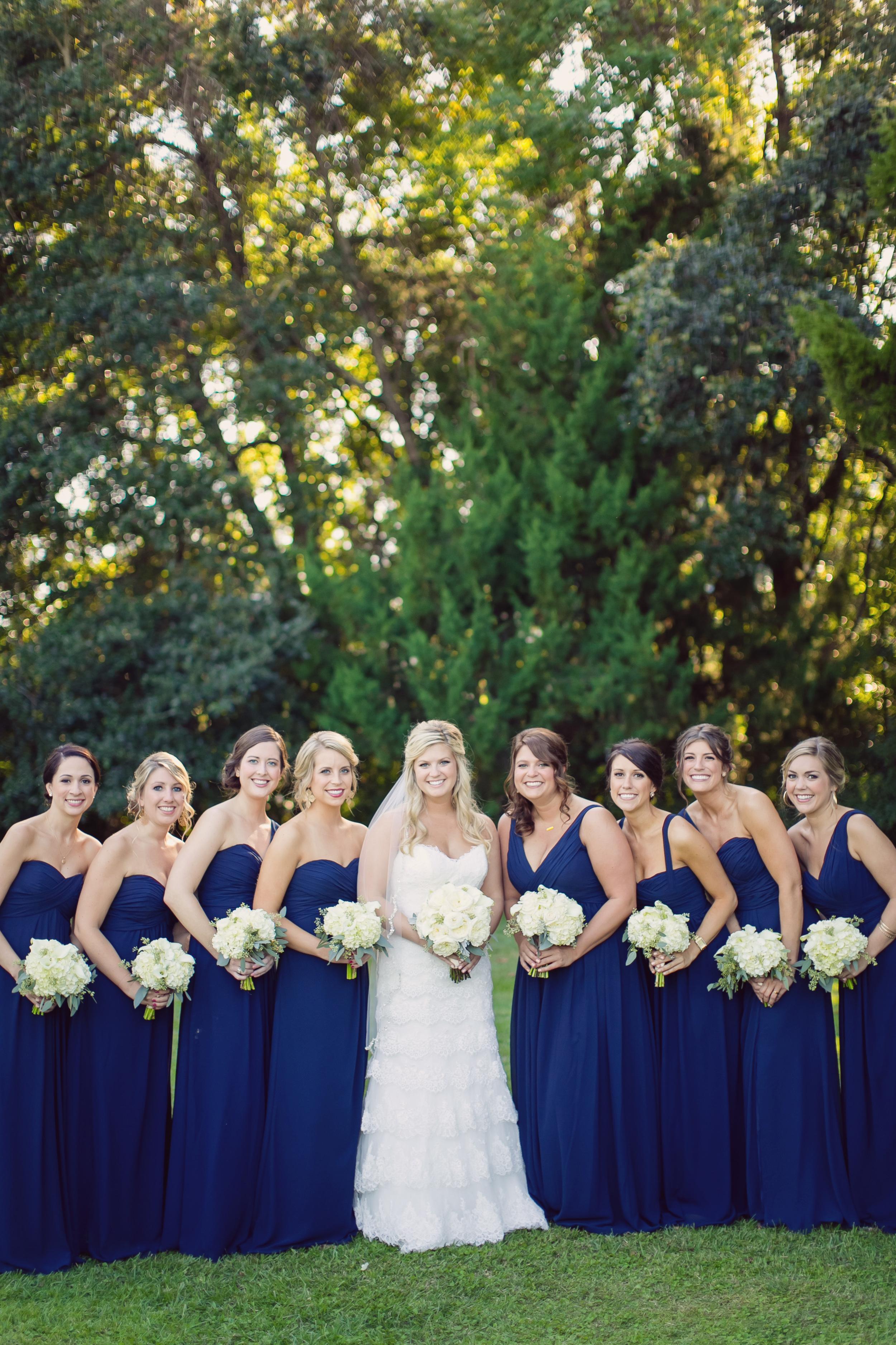 Navy blue bridesmaids dresses at Lowcountry wedding in Charleston, South Carolina