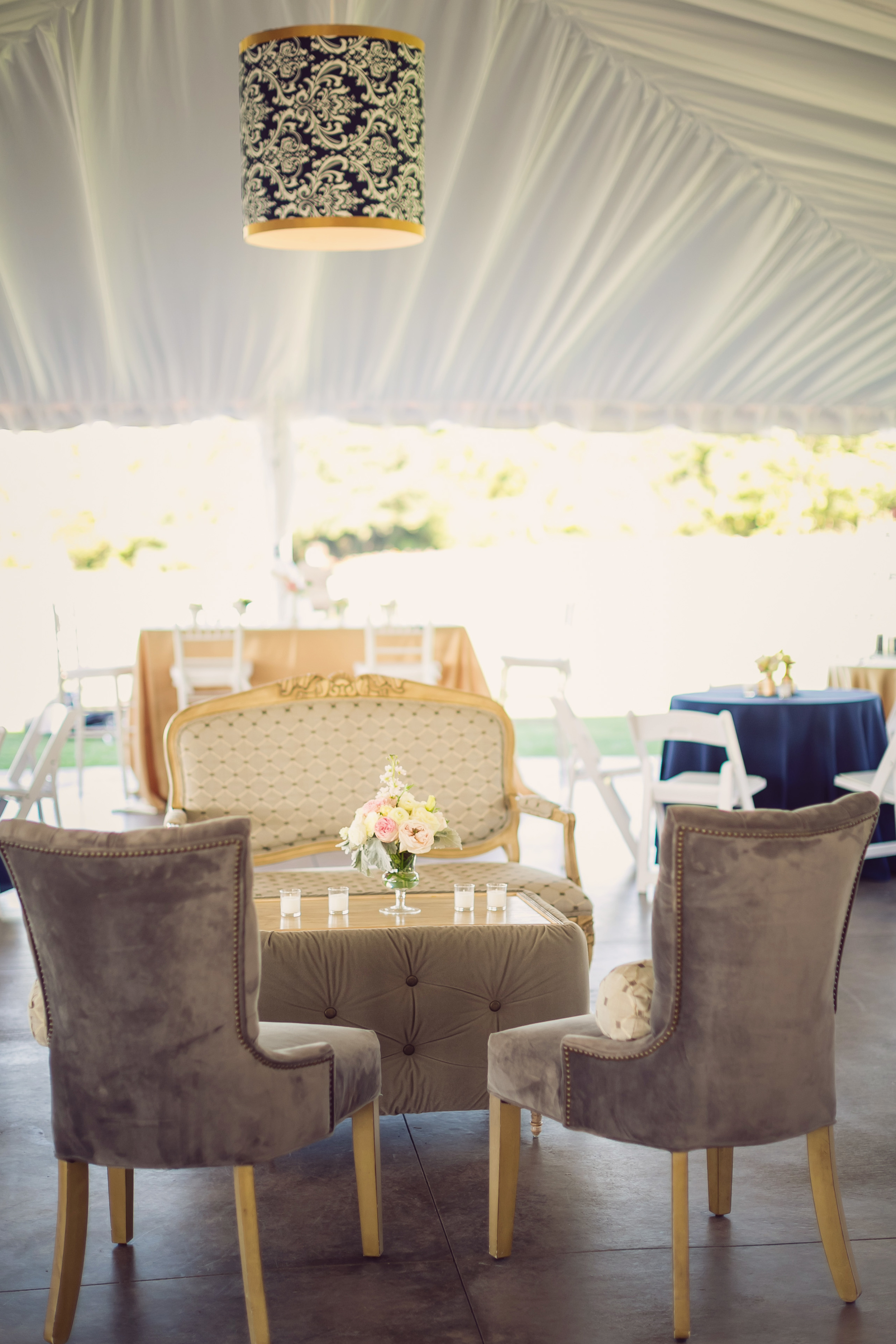Gold and navy blue wedding event design by Engaging Events