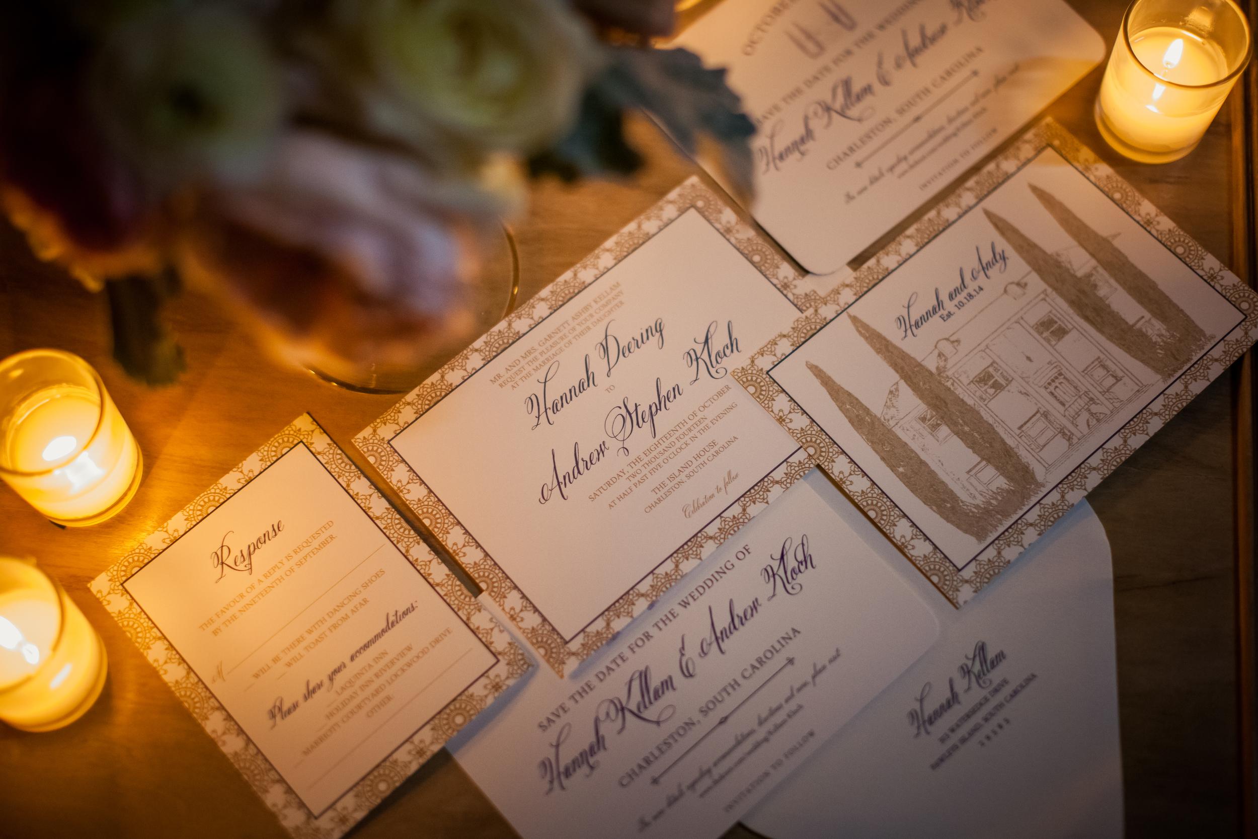 Charleston wedding invitations at The Island House