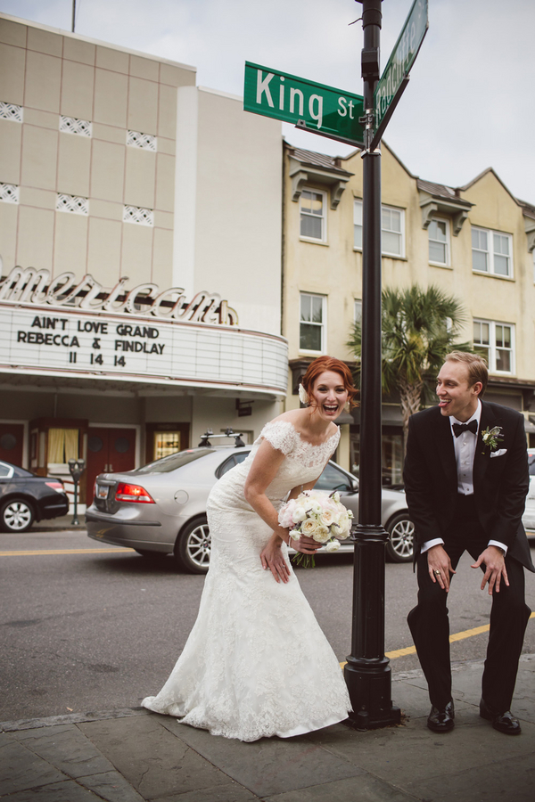 Rebecca Solon and Findlay Salter's Charleston wedding in front of the American Theater by amelia + dan photography