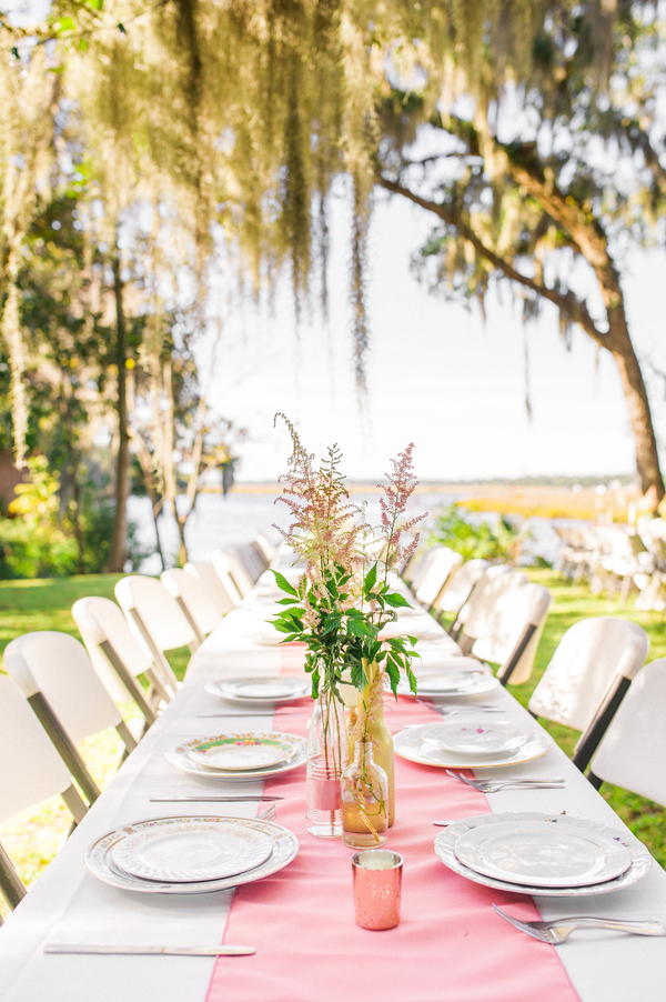 Pink Astilbe Centerpieces in Gold vases at Runnymede Plantation wedding in Charleston, SC