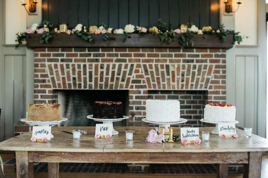 Dessert table at Lowcountry wedding reception in Charleston, SC