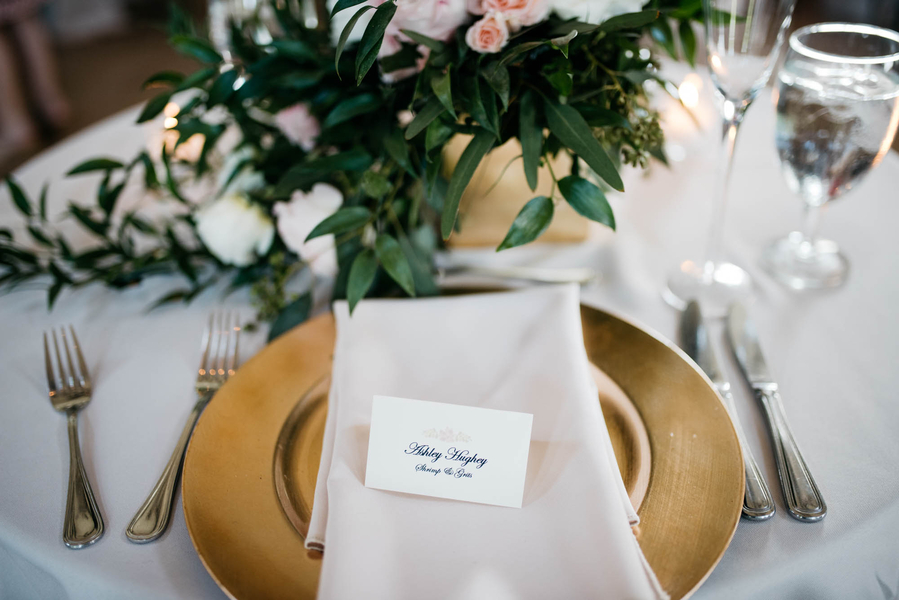 Gold table setting by Eventworks at Charleston wedding