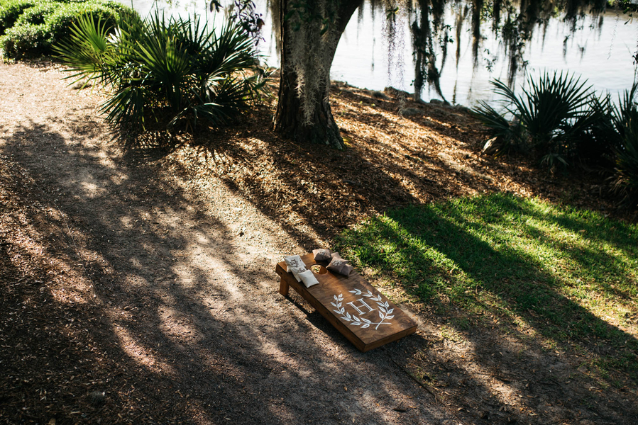 Cornhole boards at Lowcountry wedding in Charlesotn, South Carolina
