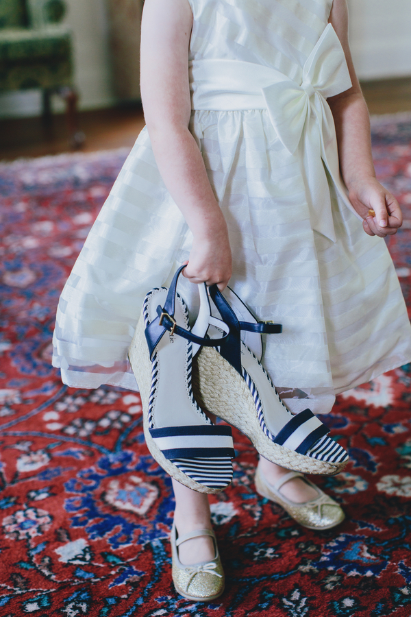 Nautical blue and white Charleston wedding shoes