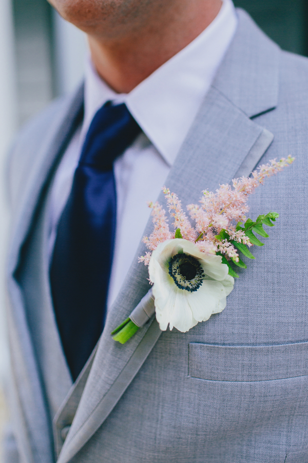Anemone and Astilbe Boutonniere by Branch Design Studio