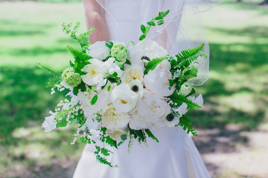 White garden rose and peony bouquet by Branch Design Studio