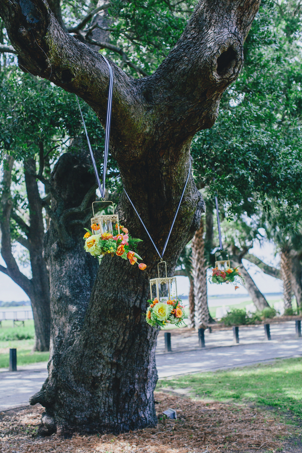 Hanging floral lanterns by Branch Design Studio at Charleston wedding