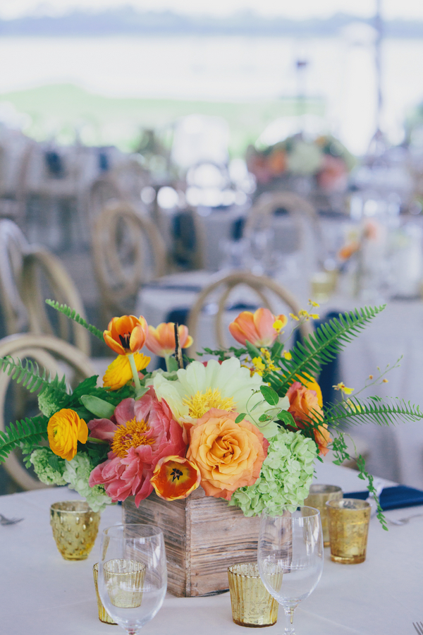 Pink peony and orange tulip centerpieces by Branch Design Studio