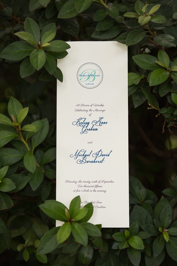 Navy and white wedding ceremony programs by Grace Hill Photography