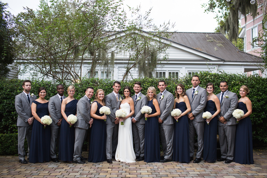 Navy and grey bridal party at Beaufort, SC wedding