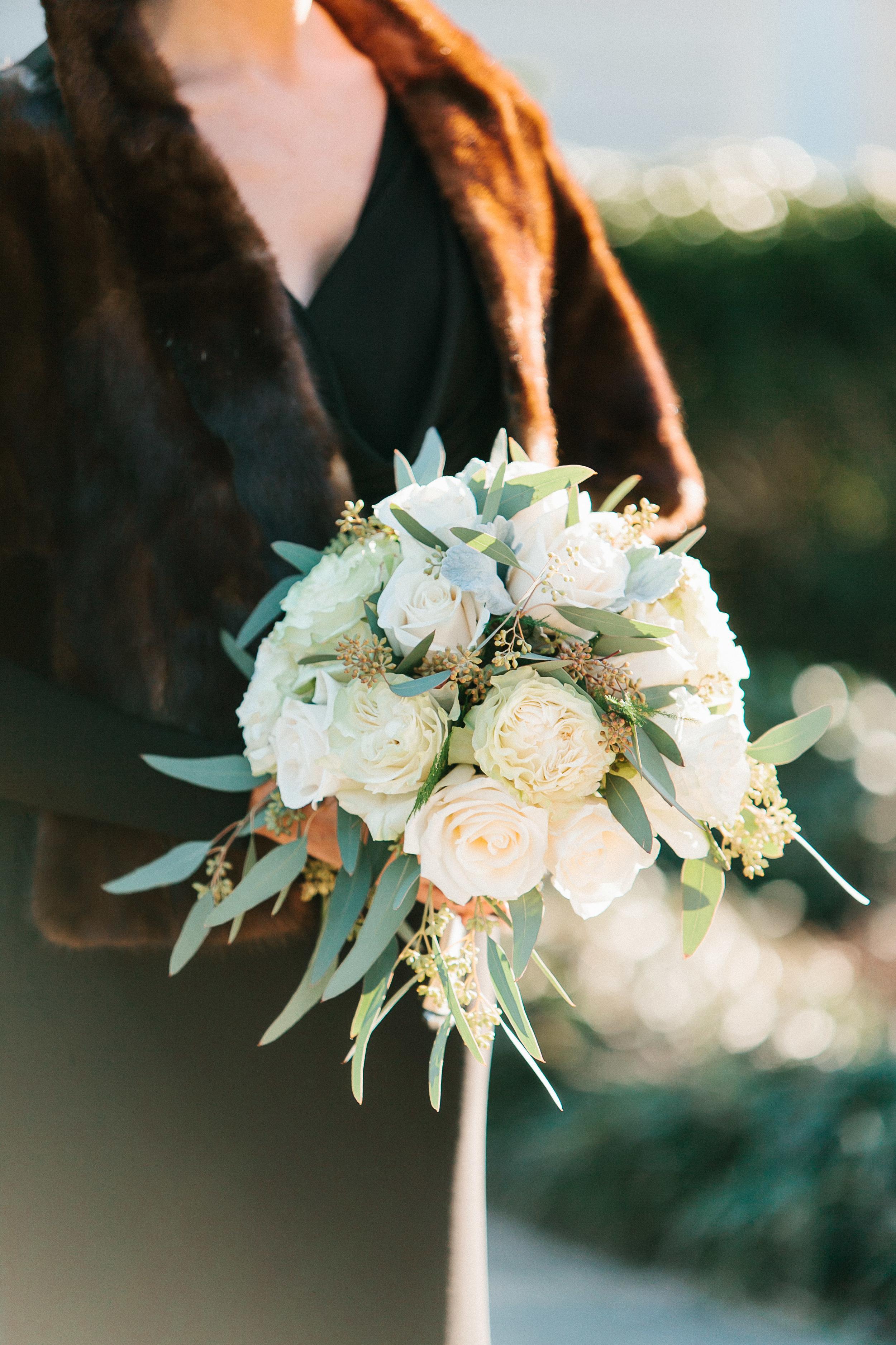 White rose and eucalyptous bouquet at Georgia wedding