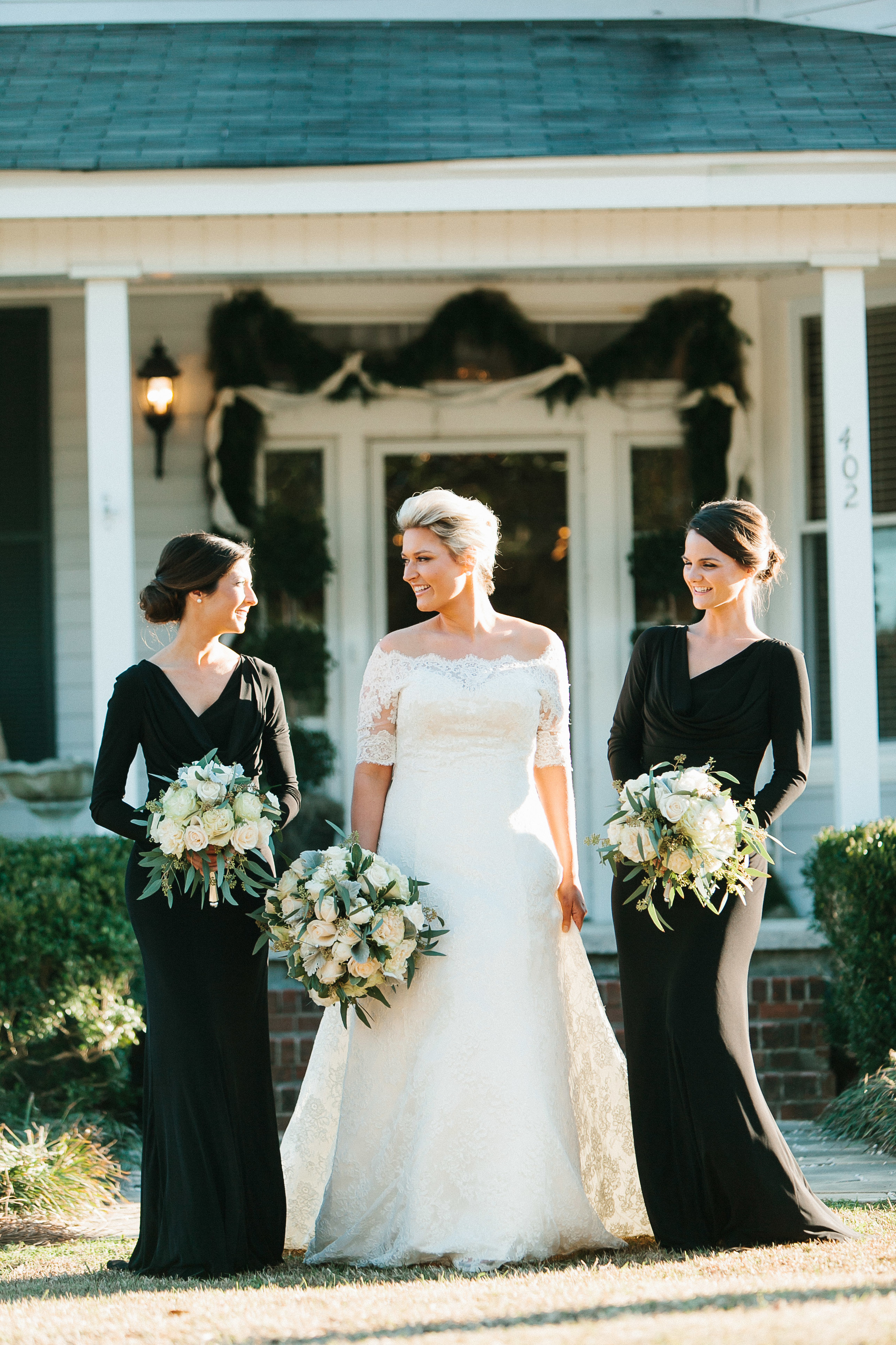 long sleeved black bridesmaids dresses for Winter Georgia wedding