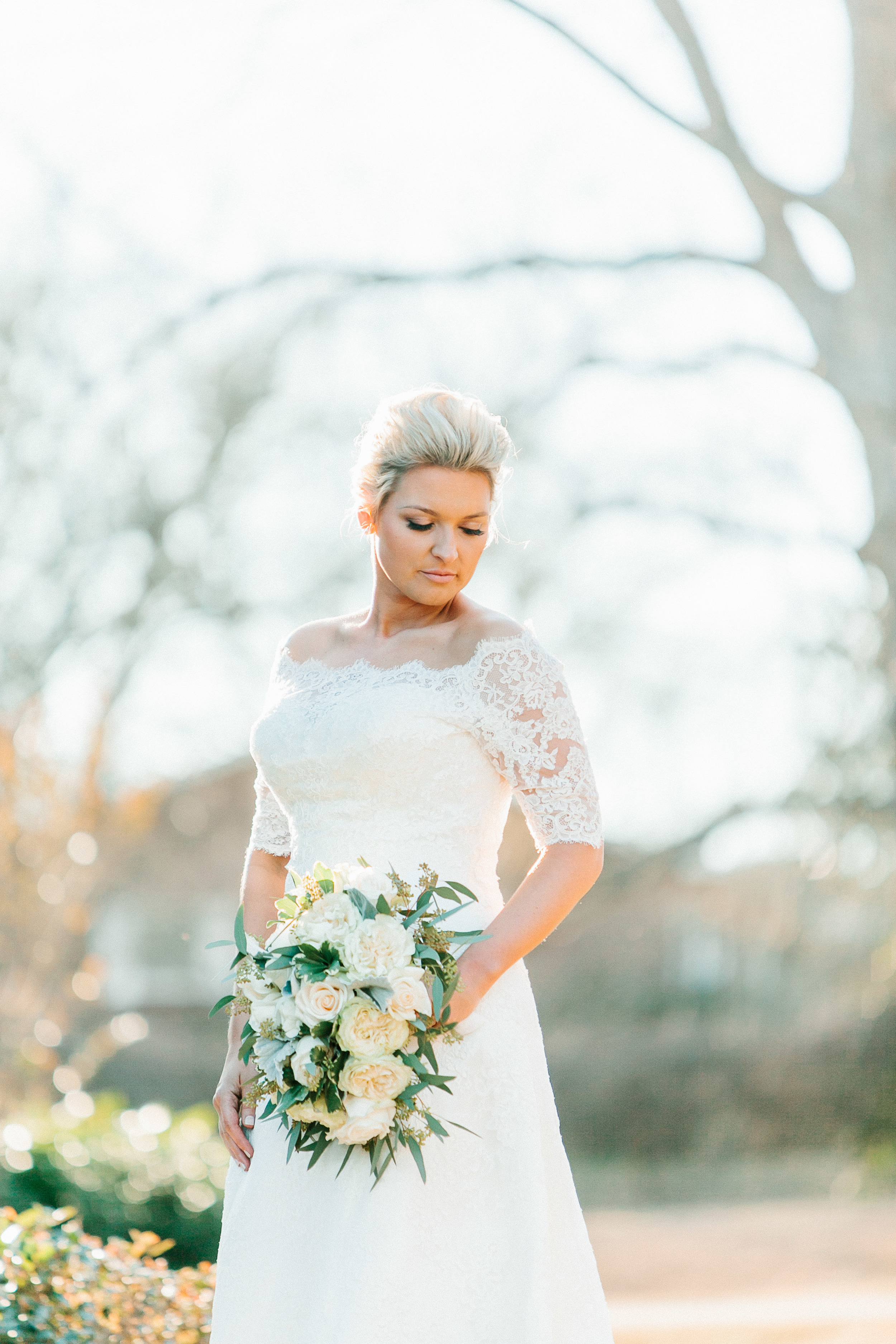Winter bride with lace gown at Winter Georgia wedding by mark Williams Studio