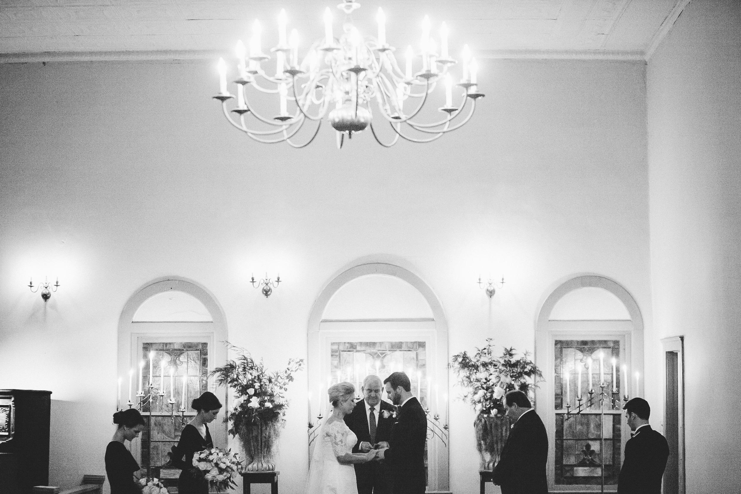 Emily + Sam's evening wedding ceremony in Stillmore, Georgia