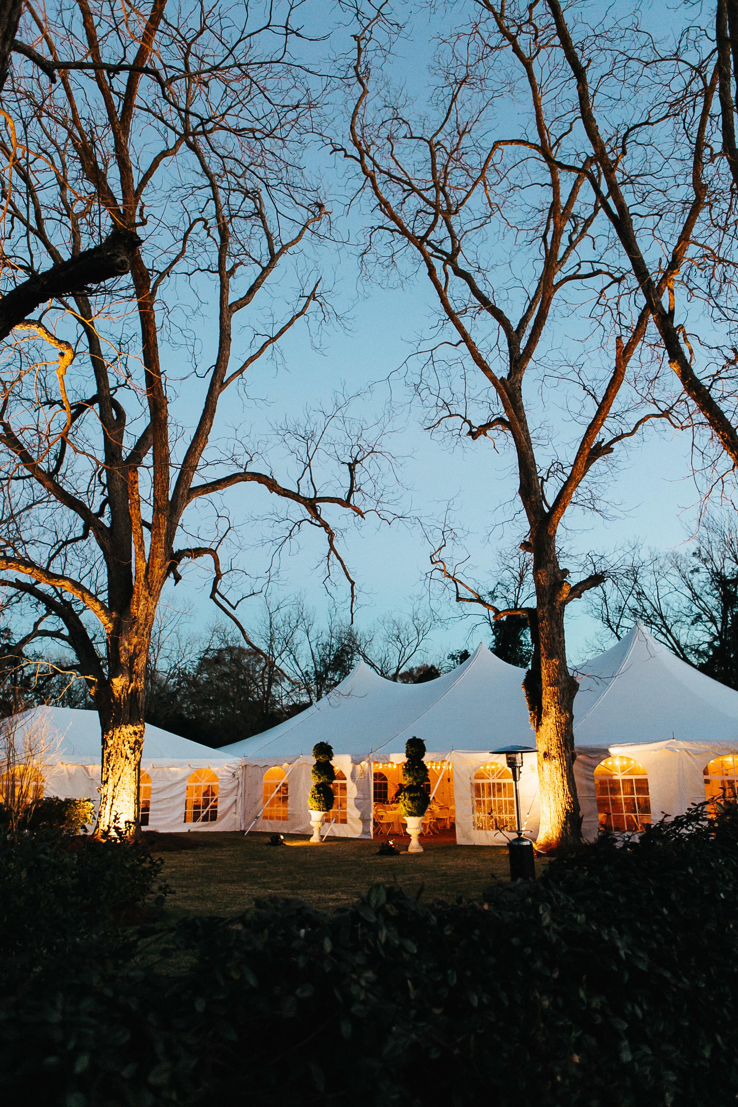 Tented winter wedding reception in Georgia