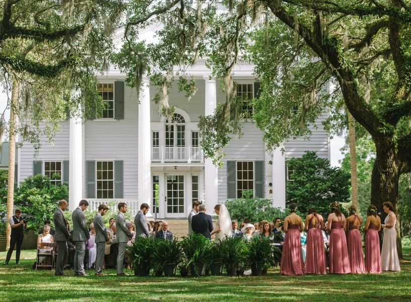 Outdoor McLeod Plantation wedding ceremony by JoPhoto