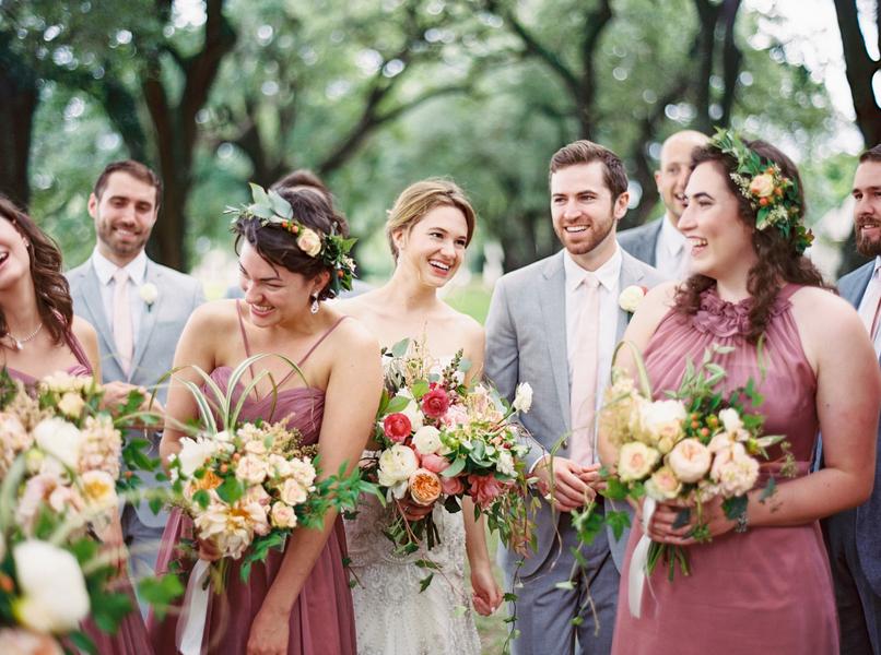 Chic Bridal party at McLeod Plantation wedding in Charleston, SC