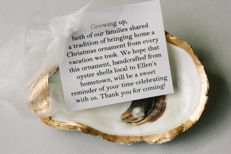 Oyster ornament wedding favors at Charleston wedding