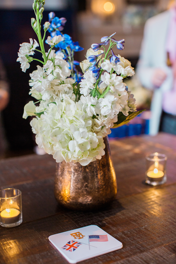 White hydrangea centerpieces at Charleston rehearsal dinner by Justin Wham Weddings & Events