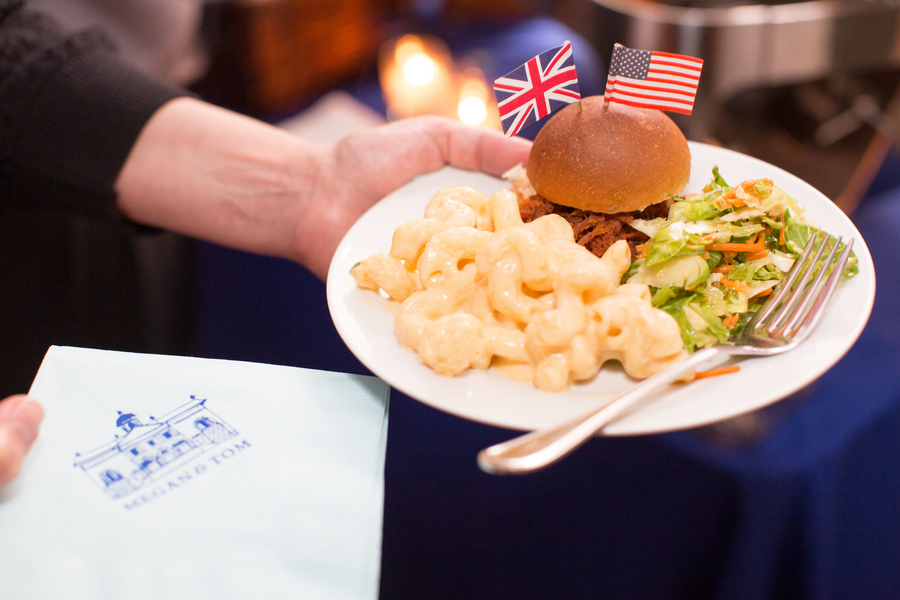 Mini sliders and mac and cheese at Charleston, SC rehearsal dinner by Salthouse Catering
