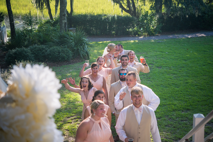CHARLESTON WEDDINGS - Bridal party in peach and tan suits at Summer wedding by Molly Joseph Photography
