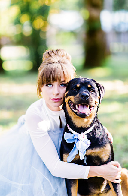 Bohemian Bride with her rescue dog wearing a bow tie