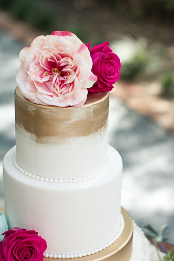 Gold-brushed cake by Bonnie Brunt Cakes at Tanglewood Plantation