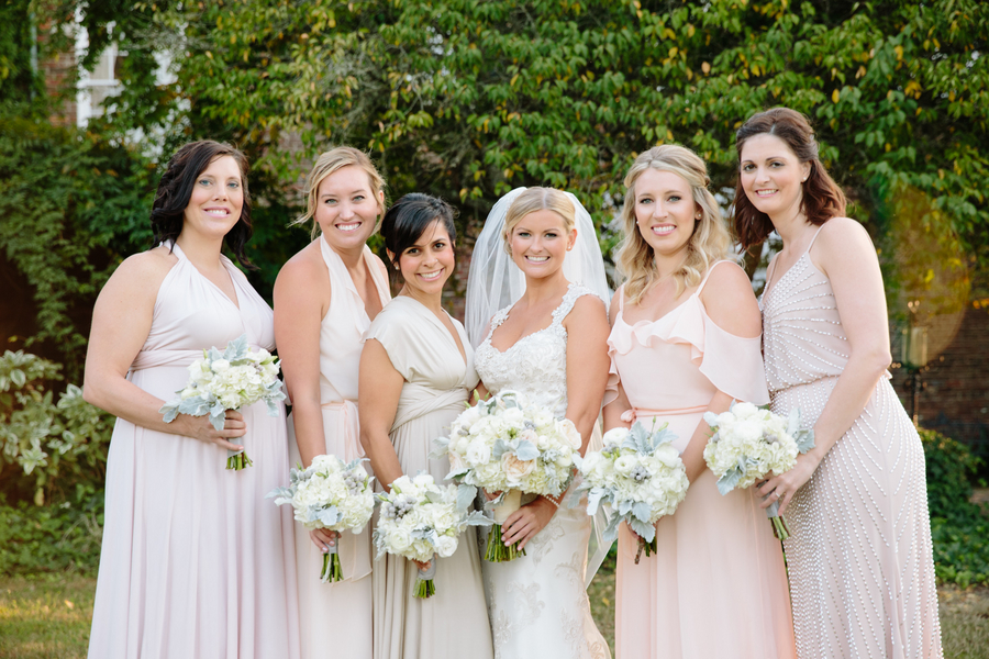 Charleston wedding party with gowns from Bella Bridesmaids