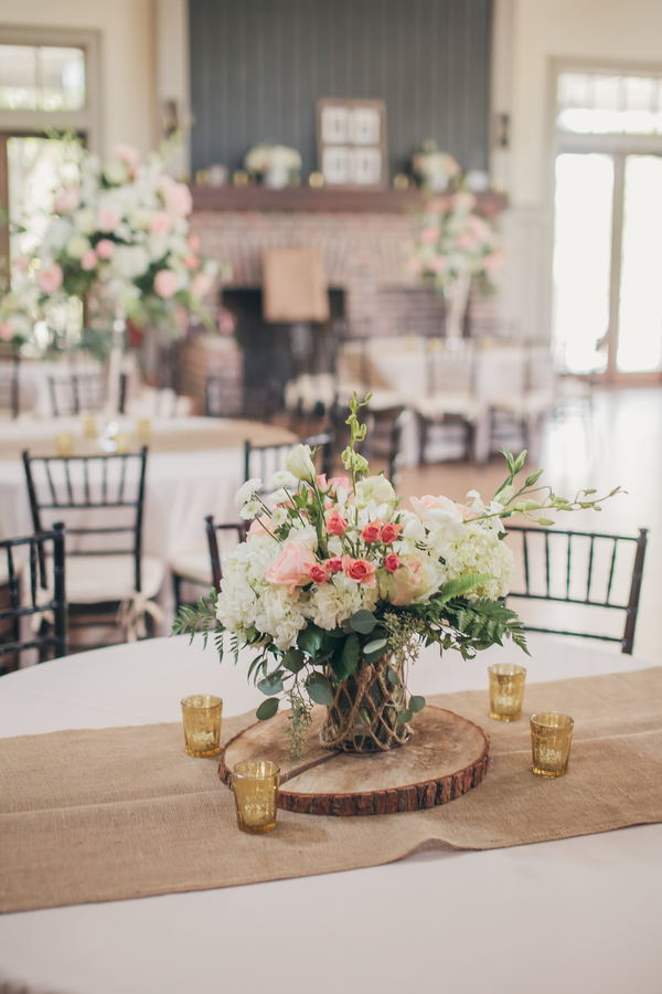 White hydrangea and pink rose centerpiece by Timeless Designs