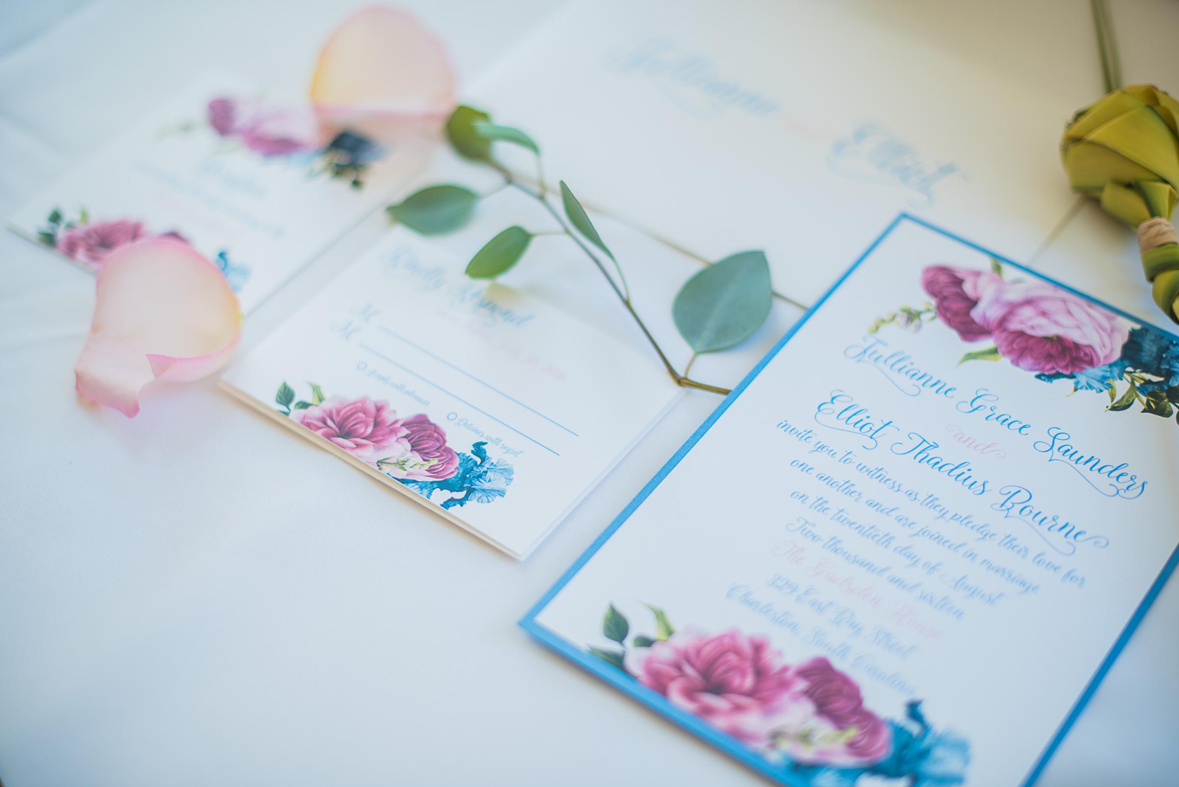 Romantic Charleston wedding invitatoins