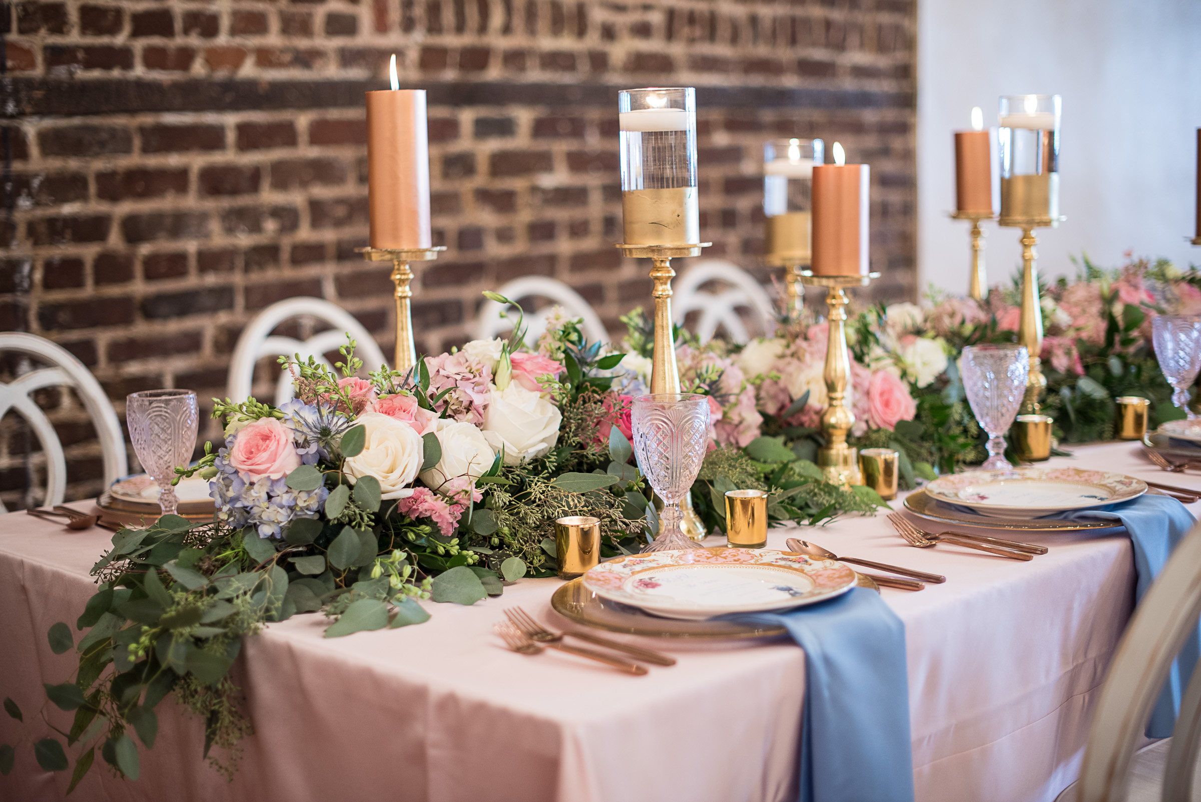 Charleston wedding inspiration with greenery table runner