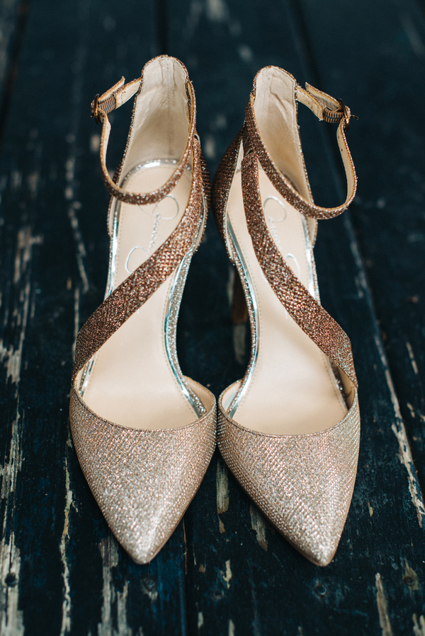 Gold wedding shoes in Charleston, South Carolina