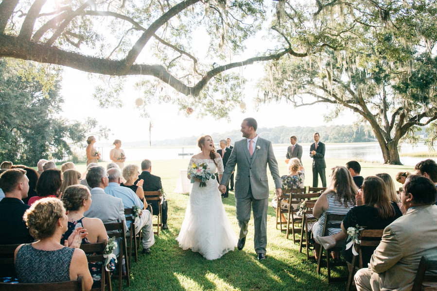 Caitlin + Hough's Outdoor wedding ceremony on the water at Oak Point Plantation