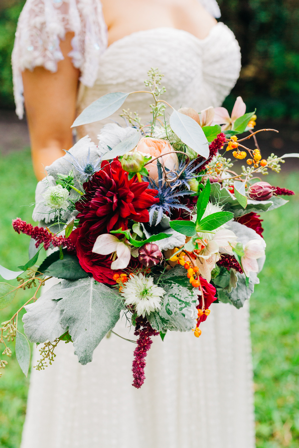 Red Dahlia wedding bouquet by Charleston Flower Market