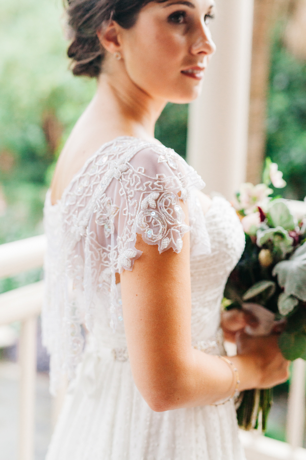 Lace cap sleeved wedding dress in Charleston, South Carolina