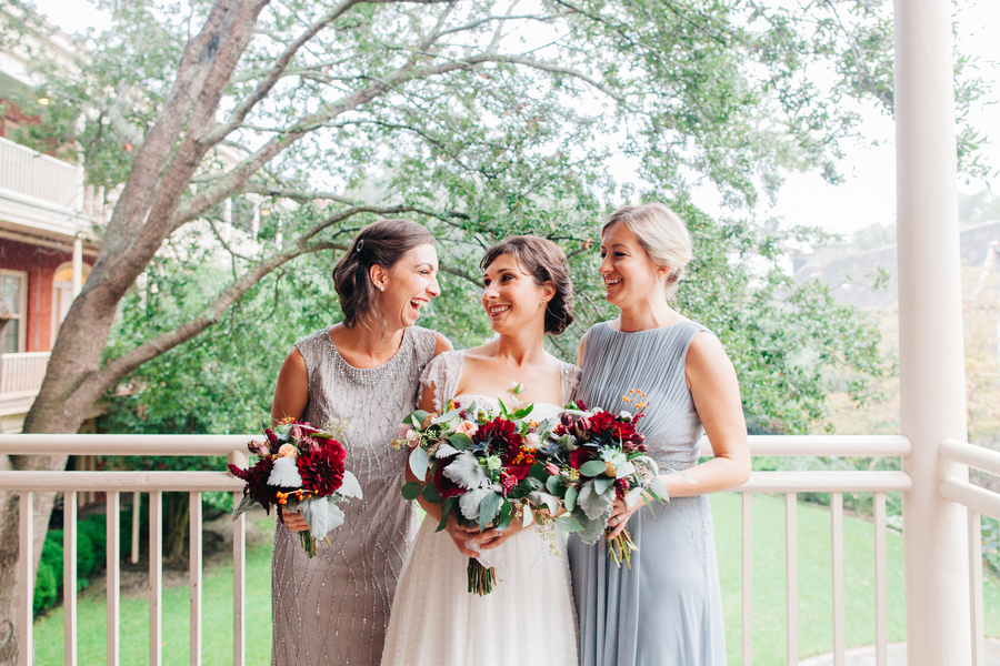 Neutral bridesmaids dresses at wedding in Charleston, SC