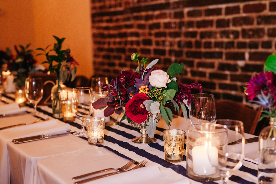 Black and white striped linens at Marion's in the French Quarter wedding