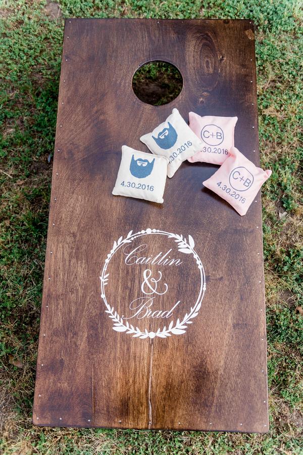 Custom cornhole boards at Charleston wedding