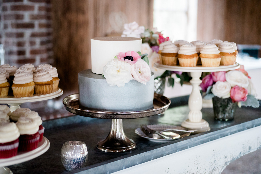 Two-tiered grey and white cake with sugar flowers by Wildflour Pastry