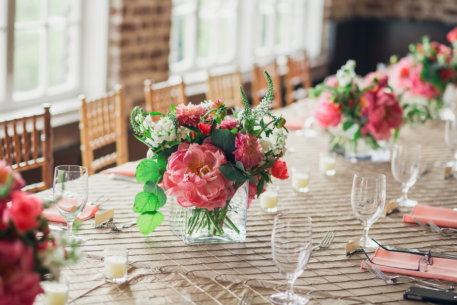 Pink Peony wedding centerpieces by Pretty Petals of Charleston