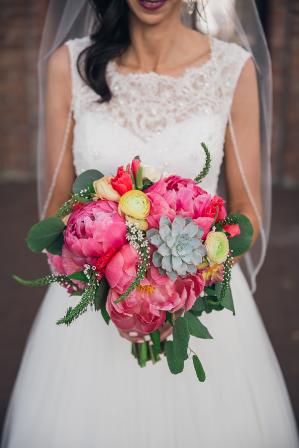 Pink Peony and succulent wedding bouquet by Pretty Petals of Charleston