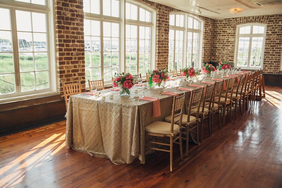 Pink Peony and gold wedding decor by Pretty Petals of Charleston and gold chivari chairs